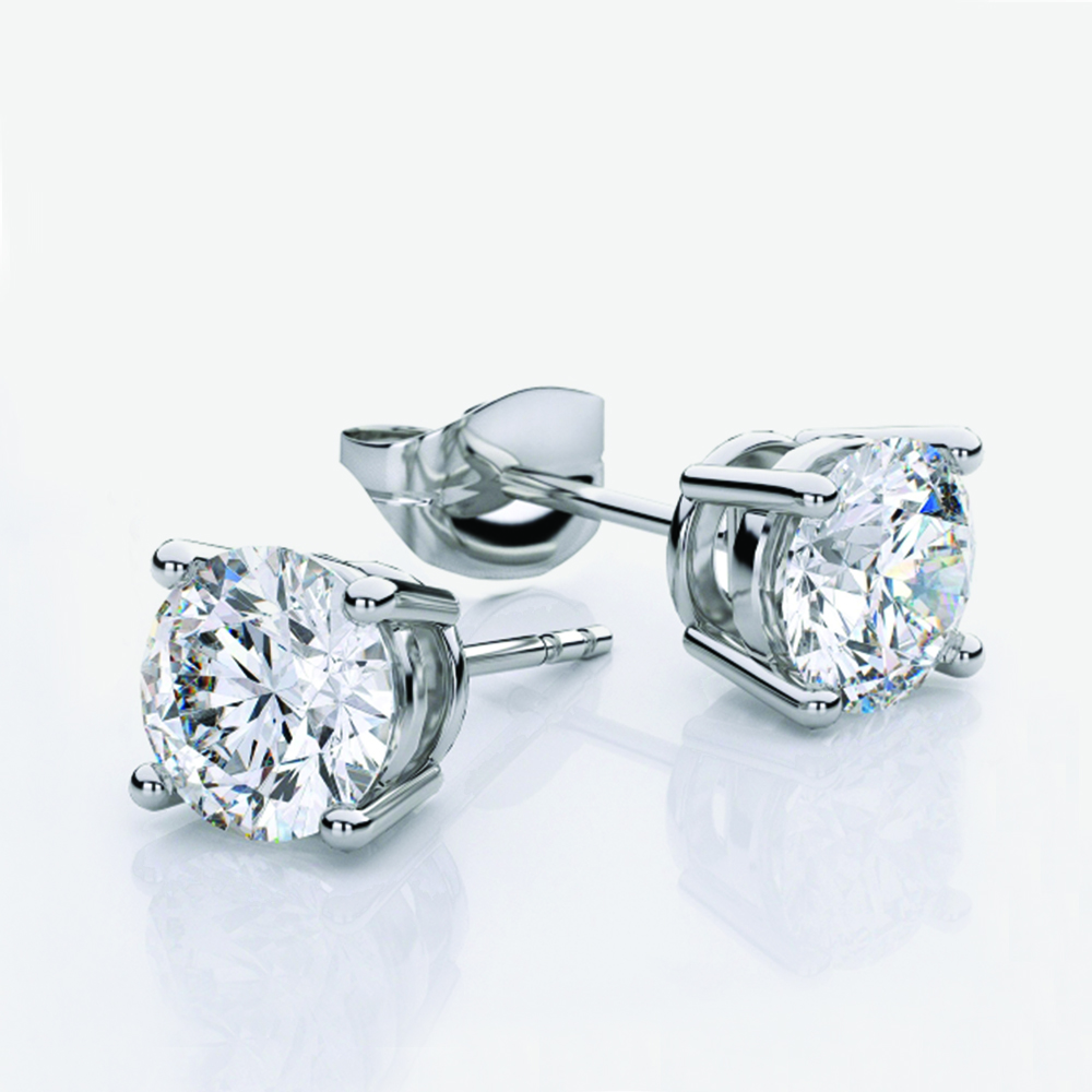 Solitaire Earrings, 18ct white gold with Natural Diamonds - GIA Certified