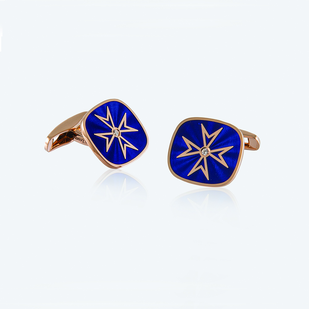 Maltese Cross Cufflinks, 18ct gold with Enamel and Natural Diamonds