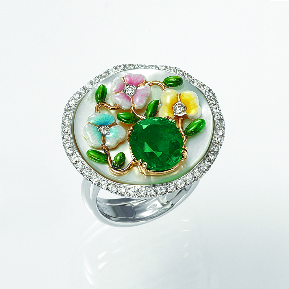 Ring, 18ct white gold with Mother of Pearl, Natural Diamonds, Natural Emerald and Enamel