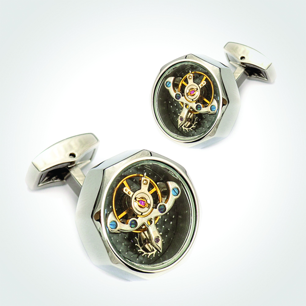 Cufflinks watch movement, Sterling Silver 925