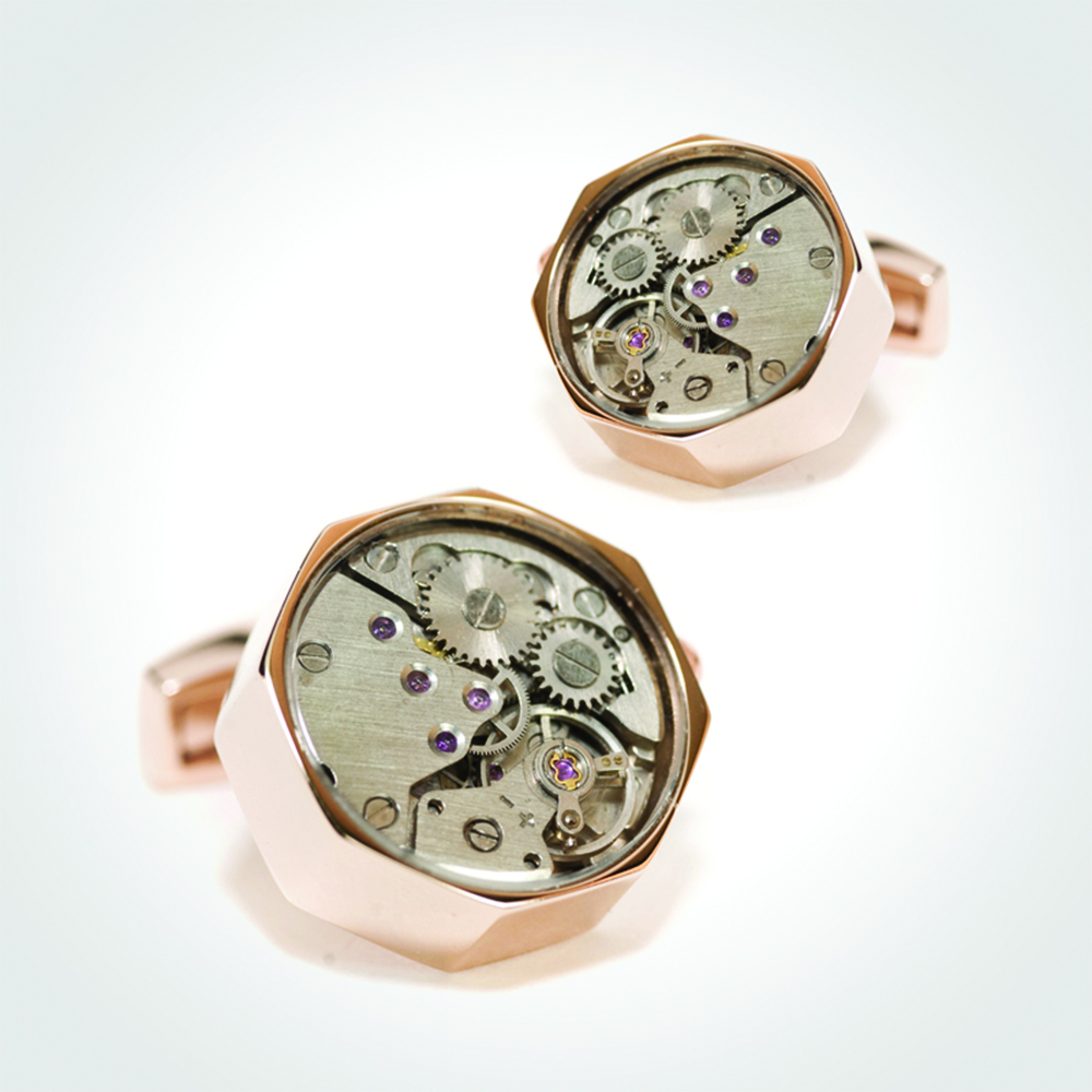 Cufflinks watch movement, Sterling Silver 925 with Gold Plating