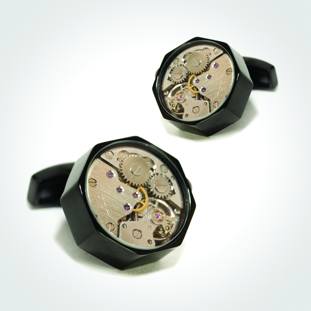 Cufflinks watch movement, Black Ceramic