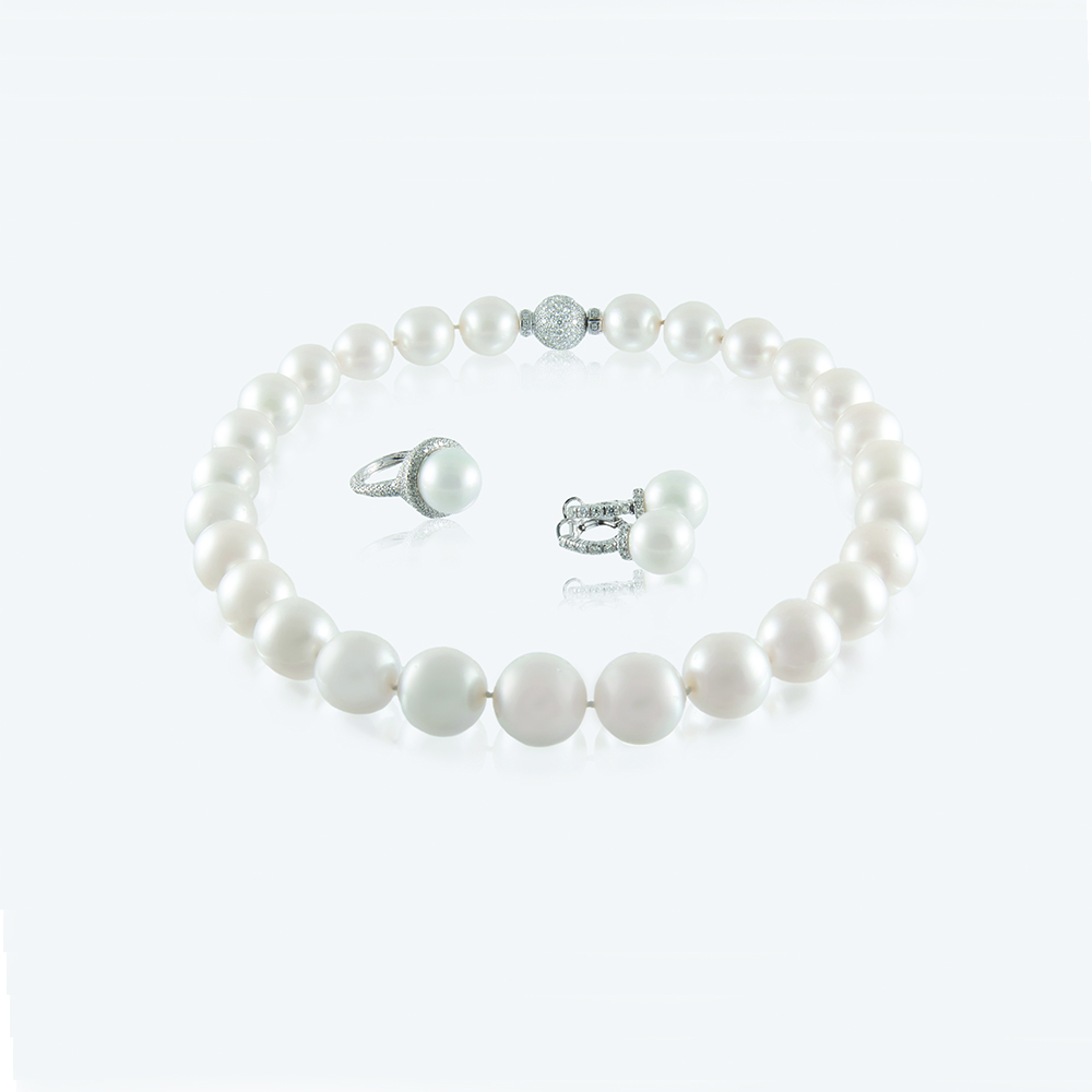 South Sea Pearls with 18ct white gold and Natural Diamonds
