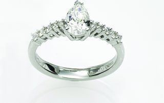 Ring, 18ct white gold with Pear Cut and Round Brilliant Cut Natural Diamonds - GIA Certified