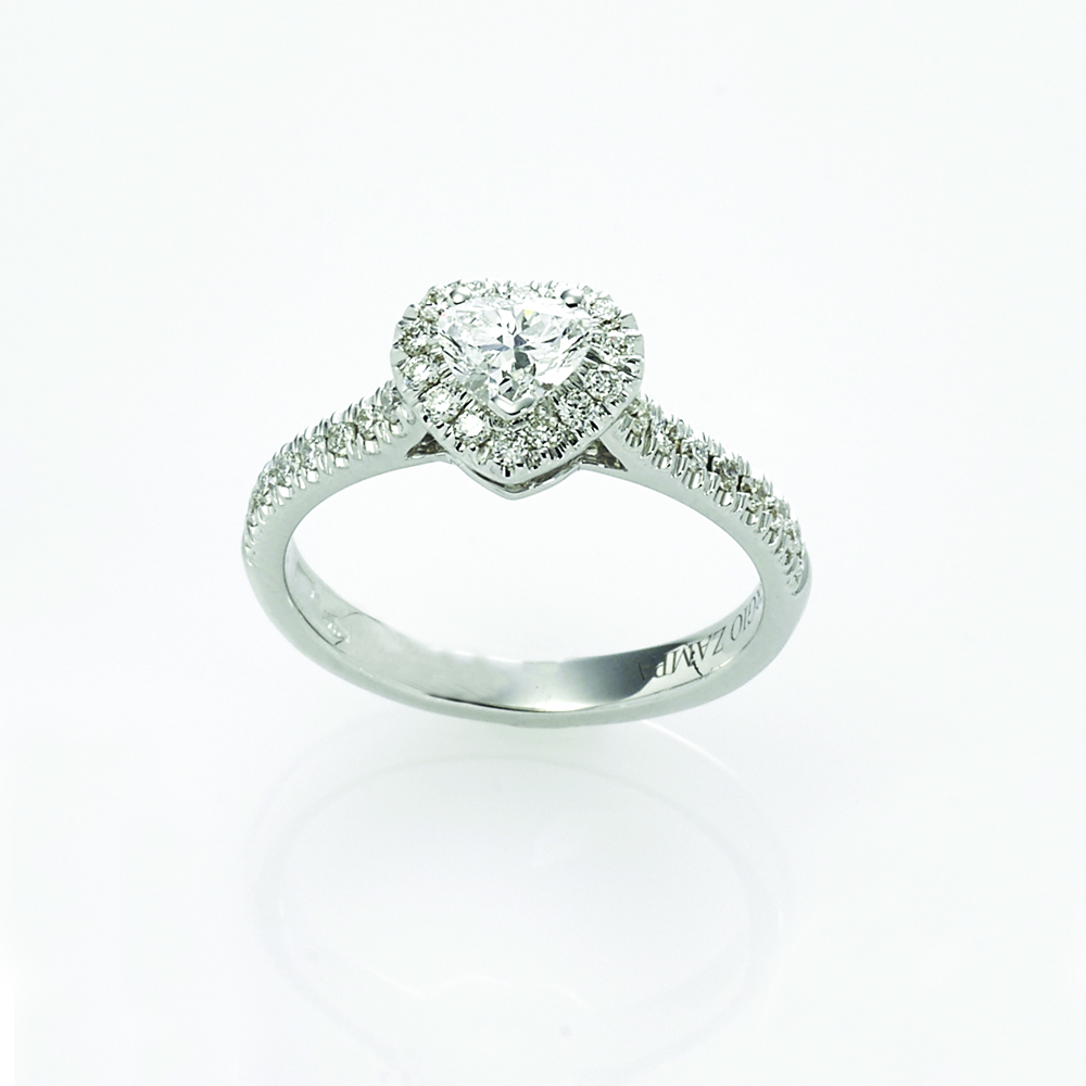 Ring, 18ct white gold with Heart Shape Cut Natural Diamond and Round Brilliant Cut Natural Diamonds - GIA Certified
