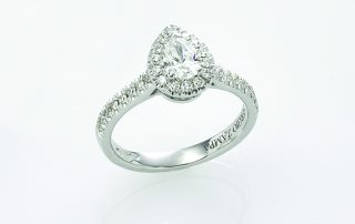 Ring, 18ct white gold with Pear Shape Cut Natural Diamond and Round Brilliant Cut Natural Diamonds - GIA Certified
