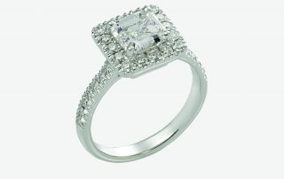 Ring, 18ct white gold with Princess Cut Natural Diamond and Round Brilliant Cut Natural Diamonds - GIA Certified